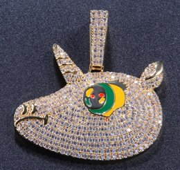 $enCountryForm.capitalKeyWord Australia - 019 new unicorn zircon pendant necklace men and women personality rap street dance vibrato hip hop accessories