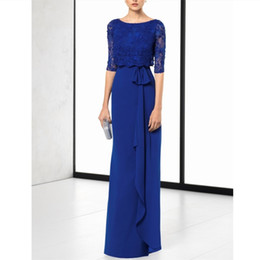 China simple blue chiffon mother's evening prom dresses 2019 elegant mother of the bride dresses custom 1 2 sleeves mother's dress plus size cheap ruched dress plus size mother bride suppliers