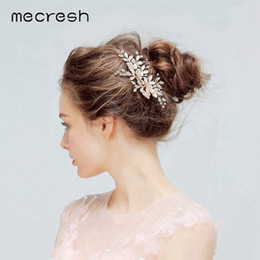 korean cute hair accessories 2019 - Mecresh Korean Pink Crystal Flower Bridal Headpieces Wedding Accessories for Girls Cute Rhinestone Princess Hair Combs M