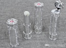 Handmade screws online shopping - New Empty DIY Lipstick Tube Silver Luxury Flower Handmade Lip Balm Tubes Gloss Cream Cosmetic Containers Packaging t