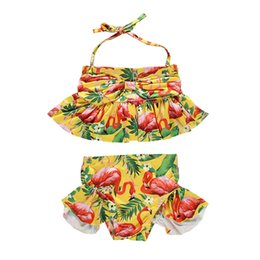 bird lanterns UK - 1-6T Girls Swimwear Set Flamingo Birds Print Two Piece Swimsuits For Girls Sling Bikini 2019 Yellow Print Children Bathing Suit