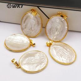 $enCountryForm.capitalKeyWord Australia - Wt-p1353 In Stock ! Elegant White Shell Pendants With Virgin Mary Pattern Oval Slice Shape Metal Plated Female Jewelry J190519
