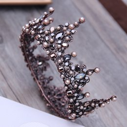 tiara beads Canada - Baroque Tiara Vintage Geometric Beads Tiaras Crowns Hairband Royal Queen Headband for Women Christmas Party Hair Jewelry C18112001