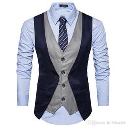 $enCountryForm.capitalKeyWord Australia - High Grade Men Groom Vests 2018 Brand Fashion Fake Two Piece Patch Waistcoat Casual Slim Business Social Suit Wedding Vest Groom Plus Size