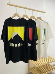 Wholesale lotus t shirts for sale – custom 2020 Luxury Designer Brand Fashion Europe and America Mens Designer Street Tide Short sleeved T shirt RHUDE Lotus Refers OS Loose Casual