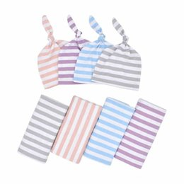 girls toddler bedding UK - Newborn Stripe Swaddle Blankets+Hats Set Euro America Hot Sale Baby Bedding Infant Toddlers Stretchy Super Soft Swaddles Receiving Blanket