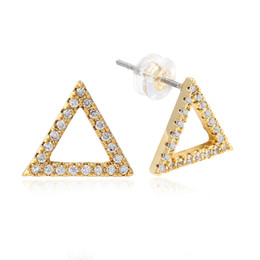 diamond hollow stud UK - hip hop full diamonds ear studs for men Hollow triangle rhinestone gold stud earrings real gold plated copper diamond jewelry free shipping