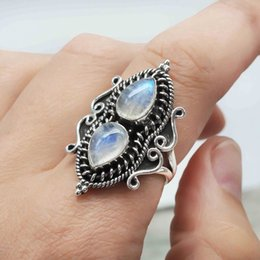 water drop rings NZ - Punk Retro Moonstone Rings Women Antique Silver Water Drop Jewelry Ring Vintage Anniversary Party Gifts For Women