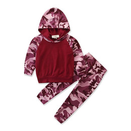 $enCountryForm.capitalKeyWord Australia - INS New Designs Infant Baby Boys Girls Hoodies Suits Army Hooded Tops With Elastic Pants 2pieces Cotton Children Clothing Set