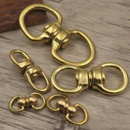 $enCountryForm.capitalKeyWord Australia - 2pcs Solid Brass Swivel Ring Buckle Rotate Belt Key Ring Wallet Chain Connector Metal Snap Hook DIY Leather Crafts For Making Bags