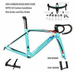 Woven carbon fiber online shopping - XR4 carbon fiber road bike frame fork seatpost with D carbon handlebar UD weave rim brake disc brake carbon frameset