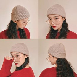 knit beanies brim UK - Women beanie sleeve cap knit cotton pure color simple No brim multicolor high quality Popular girl hat outdoors