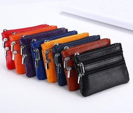 coin holder wholesale UK - DHL 100pcs Double Zipper Coin Purses keychains keys wallet Purse change pocket holder organize cosmetic makeup
