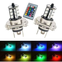 $enCountryForm.capitalKeyWord Australia - RGB Wireless H4 27-SMD LED Decoration Bulbs For Fog Daytime Running DRL Lights Remote Control with Turn On& off