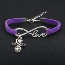 $enCountryForm.capitalKeyWord NZ - Purple Leather Suede Bracelets For Women Men Ladies Boho Metal Charm Infinity Love I Heart Soccer Ball Sport Team Wrap Female Male Jewelry