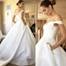 $enCountryForm.capitalKeyWord Australia - 2019 Fashion Off Shoulder A Line Wedding Dresses with Pockets Ruched Zipper Back Bridal Gowns Formal Dress Cheap