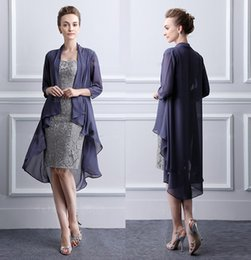 Mothers Suits Australia - Vintage Grey Elegant Sweetheart Mothers Dresses Tea Length Sheath Lace Mother Of The Bride Groom Dresses With Jacket Moms Gowns SH329