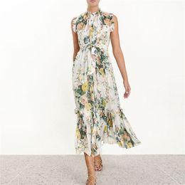 Discount chiffon empire ankle length dresses - New Collection Women's Designer Dress Maxi Long Printed 2019 Summer Chiffon Ruffles Dresses Sleeveless Sashes Bohem