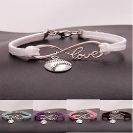 $enCountryForm.capitalKeyWord Australia - Fashion softball baseball charm bracelets For women Mens ball Sports lover Love Infinity velvet Wrap Bangle DIY Jewelry in Bulk