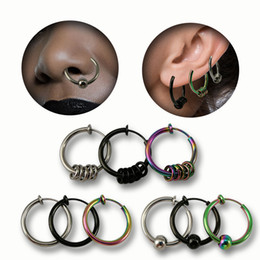 fake nose earrings 2019 - Fake Piercing nose ring tragus Septum sexy jewelry Lip Hoop Rings Earrings nose ring clip stainless steel jewelry cheap