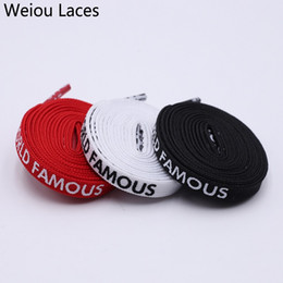$enCountryForm.capitalKeyWord NZ - Weiou Fashion 7mm Width Double-sided Silk Screen Printing Universal Shoe Laces Flat Printed WORLD FAMOUS Shoelaces Personality