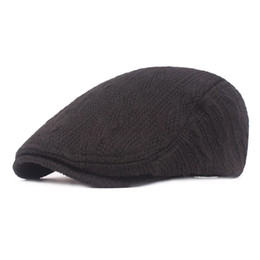 7ff41fa636d Casual fashion wool caps Male autumn and winter berets Thick warm hats  forward caps Men s knitted wool Casual
