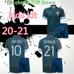Discount messi kid jerseys Copa America 2020 child Argentina soccer jersey 2021 kids KITS 20 21 MESSI DYBALA MARADONA AGUERO DI MARIA HIGUAIN football shirts