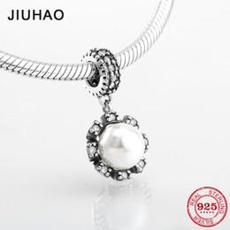 Pendant Pearl Pandora Australia - New Authentic 100% 925 Sterling Silver fashion Shell Pearl CZ Fine Pendants Fit Original Pandora Charm Bracelet Jewelry making