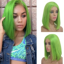 $enCountryForm.capitalKeyWord Australia - Green Lace Front Human Hair Wigs Colorful Bob Cut Wigs Straight Brazilian Virgin Hair 150 Density Natural Hairline Glueless Bleached Knots