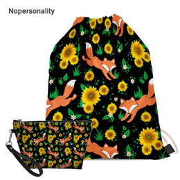 Drawstring School Bags Australia - Nopersonality Floral Fox Panda Print Drawstring Bag for Women Portable Teenager Girls School Bag Casual Travel String Backpack
