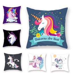 knit throw patterns NZ - Pillow Case 45*45 cm Home Decor Lovely Unicorn Pattern Cushion Cover Comfortable Soft Throw Pillowcase Pillow Covers