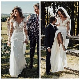 Slim Modern Wedding Dresses Australia - Sheer Long Sleeves Slim Mermaid Wedding Dresses 2019 Modest Lace Appliques Slim Garden Bridal Gowns Customized Formal Long Robe De Mariee