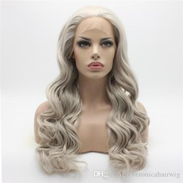 $enCountryForm.capitalKeyWord Australia - Free Shipping Natural Hairline Wavy Long Grey Wig Half Hand Tied Heat Resistant Glueless Synthetic Lace Front Wigs for Women 180% Density