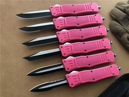 NyloN gear sets online shopping - 8 Medium Size Double action auto knife Pink C Blade EDC survival gear Hunting A161 Tactical Knife knives w Nylon Sheath