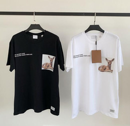 $enCountryForm.capitalKeyWord Australia - Spring and summer new B spotted deer print black and white two men and women with the same paragraph loose cotton short-sleeved T-shirt