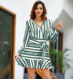 $enCountryForm.capitalKeyWord NZ - Sexy Deep V Neck Long Sleeve strip mini Dress 2019 New Designed Women Bandage Summer Beach Robe Tunic Patchwork Holiday Beach Wear Dress