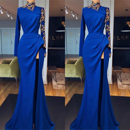 Wholesale same fashion dress celebrity for sale – plus size Royal Blue High Neck Formal Prom Dresses with Gold Appliqued Long Sleeves Side Split Evening Gowns Celebrity Fashion Party Wear
