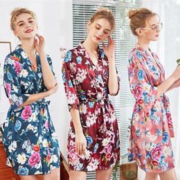 Sexy blue Sleepwear for women online shopping - Pajamas Womens Robes Sleepwear Robes for Women Pajamas Nightgown Plus Size Women Pj Lounge Pink Blue Wine Red Floral