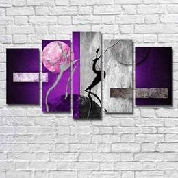 Handgemalte Abstrakte Tänzerin Lila Ölgemälde Auf Leinwand Modern5 PC / Set  Bilder Wandkunst Bilder Für Wohnzimmer Wohnkultur