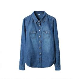 $enCountryForm.capitalKeyWord UK - Plus Size Vetement Fashion Style Women Clothes Blouse Long Sleeves Casual Denim Shirt Nostalgic Vintage Blue Jeans Shirt Camisa Y190427