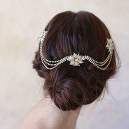 $enCountryForm.capitalKeyWord Australia - Bride Rhinestone Ripple Head Chain Bridal Headpiece Wedding Boho Hair Comb Bohemian Headdress Wedding Hair Accessory