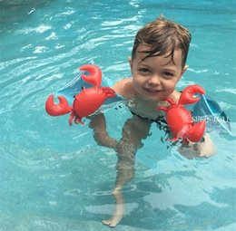 $enCountryForm.capitalKeyWord Australia - Wholesale-Kids Inflatable Arm Band Swimming Armlet Flamingo Crab Baby Swim Rings Safty Assistive Tools Inflatable Float Swim Arm Ring