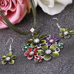 crystal multi flower necklace UK - Fashion Brand Wedding Jewelry Sets Green Flower Pendants Necklaces Multi-layers Leather Rope Chain Jewelry Set for Girls
