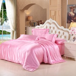 pink silk bedding sets Australia - Popular Romantic silk bedding set Twin Full Queen Size Duvet Cover Solid pink Color Bedding Cover Suit