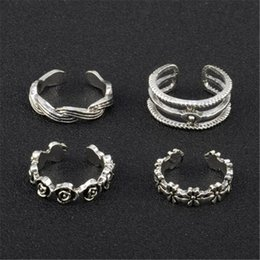 $enCountryForm.capitalKeyWord Australia - Fashion Rings Flower Toe Ring Women Lady Unique Adjustable Opening Finger Ring Fashion Simple Sliver Plated Retro Carved Foot Beach Jewelry