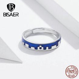 $enCountryForm.capitalKeyWord Australia - BISAER Stament Rings 925 Sterling Silver 2 Types Forver Love Letter A Blue Enamel Finger Ring Wedding Band Ring Jewelry GXR537