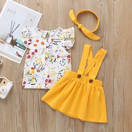 $enCountryForm.capitalKeyWord Australia - Girls Floral Top+Suspender Skirts Outfits Summer 2019 Kids Boutique Clothing 1-5T Little Girls Ruffle Sleeves Skirts 3 PC Set Cute