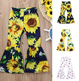 Wholesale Kids Baby Sunflower Pants Summer Girl Fashion Toddler Kids Baby Girls Casual Sunflower Bell-bottom Pants Trousers KKA7839