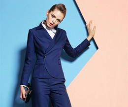 $enCountryForm.capitalKeyWord Australia - Custom made Royal Blue Women Business Suits Formal Office Pants Suits Work Wear Ladies One Button suit 2 Pieces Jacket+Pants