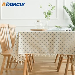 $enCountryForm.capitalKeyWord Australia - Blue Daisy Flower Pattern Tablecloth Cotton Linen Tassel Lace Edge Table Cover Decorative Banquet Wedding Rectangular Deskcloth
